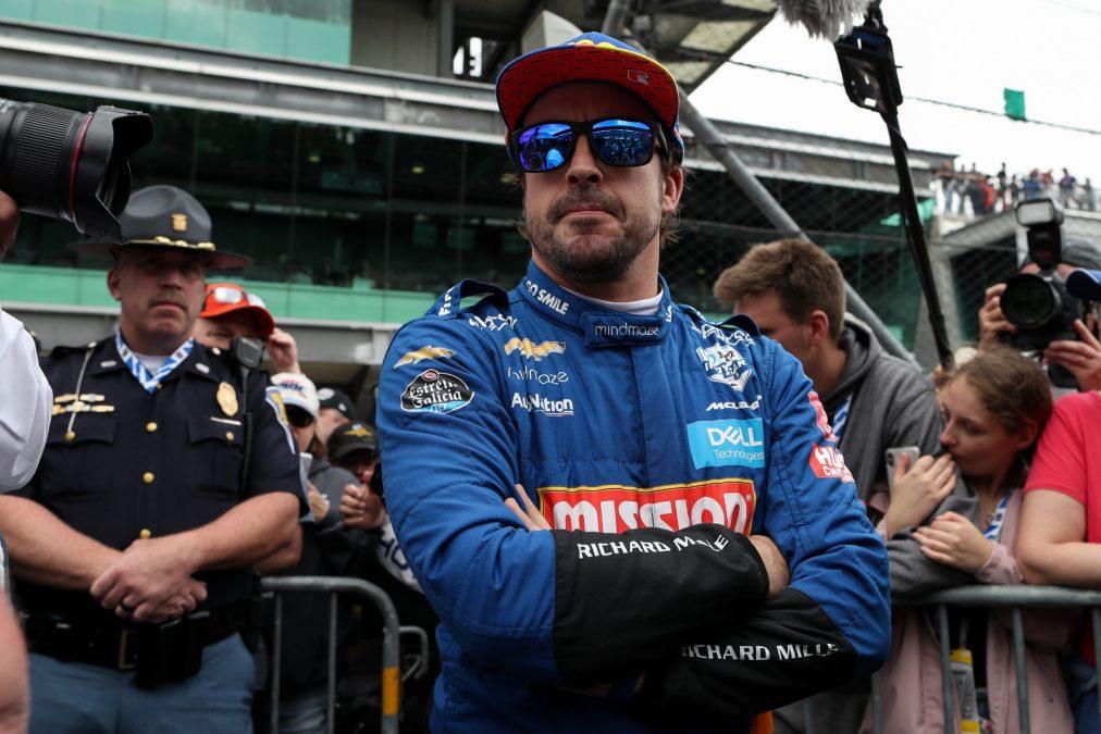 Fernando Alonso tijdens de Indy500 afgelopen jaar